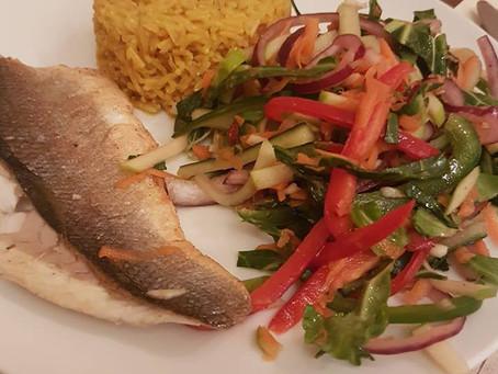 Pan fried sea bass, turmeric rice and Thai themed salad