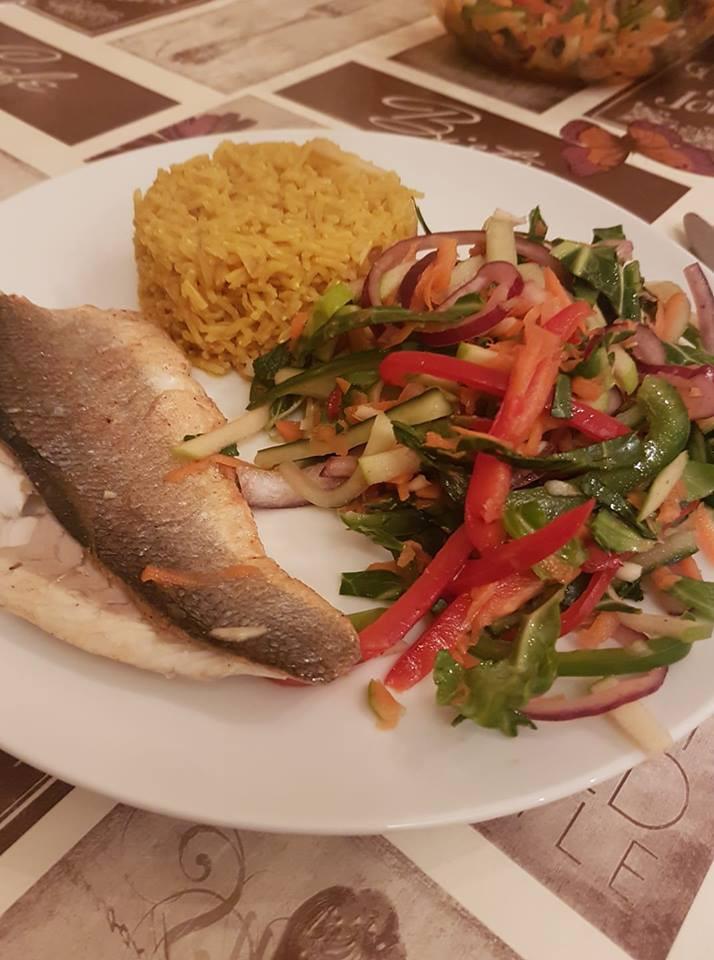 Sea bass, turmeric rice and Thai themed salad