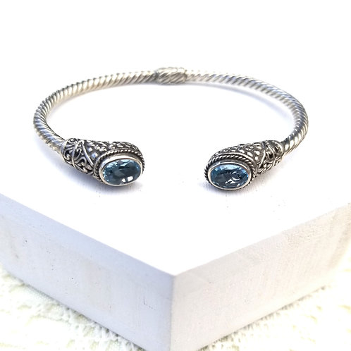 Genuine Blue Topaz Sterling Silver Bangle