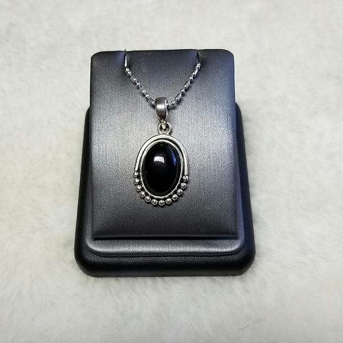 Sterling Silver Black Onyx Cabachon Pendant
