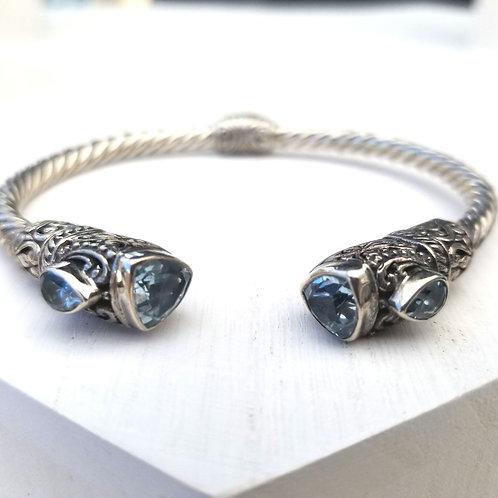 Ornate Genuine Blue Topaz Sterling Silver Bangle