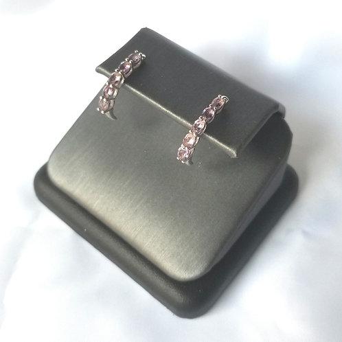 Sterling Silver Half Hoop Earrings- Amethyst