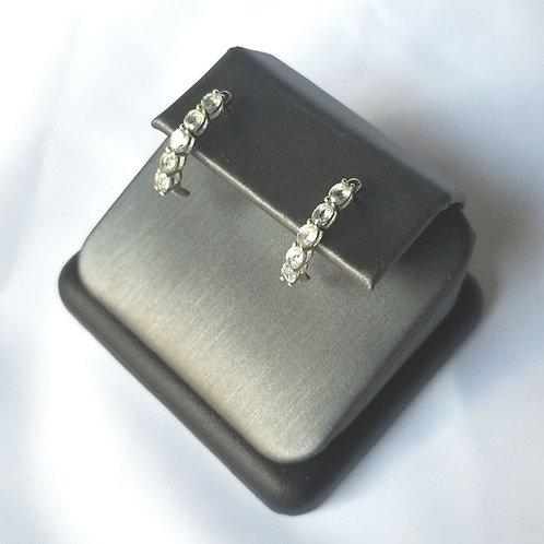 Sterling Silver Half Hoop Earrings- Light Blue Topaz