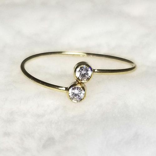 14k Gold Filled CZ Adjustable Ring