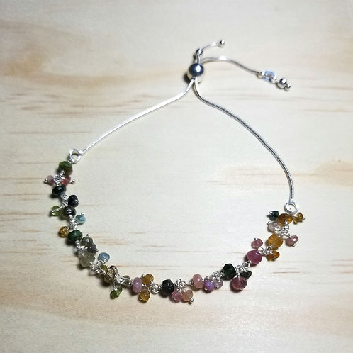 Multi-colored Tourmaline adjustable Bracelet in Sterling Silver