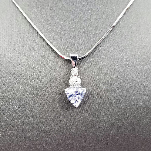 Genuine Unheated Tanzanite with Diamond Accents in Solid 18k White Gold