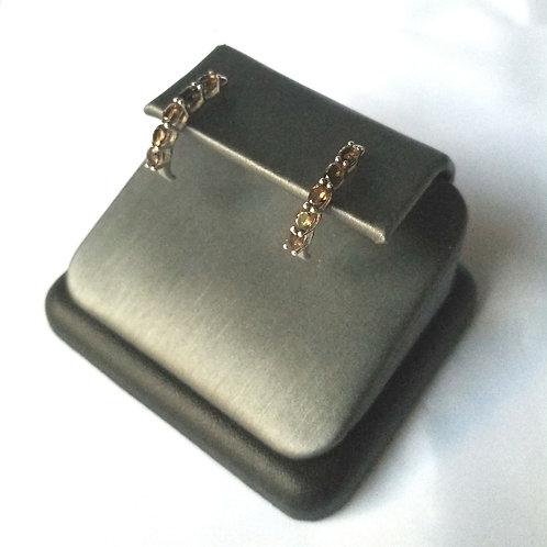 Sterling Silver Half Hoop Earrings- Smokey Quartz