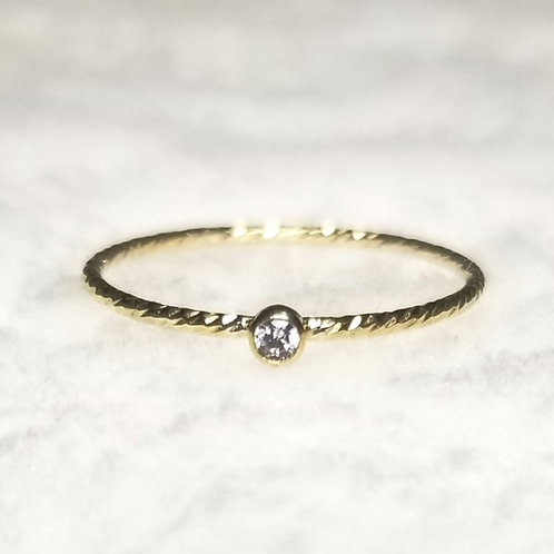 Minimalistic 14k Gold Filled CZ Stackable Ring