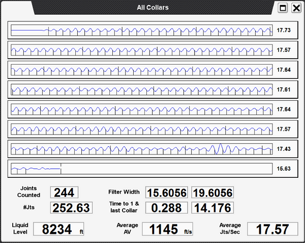 Screenshot of the All Tubing Collars page from Echomter's TAM showing how the Acoustic Velocity is calculated.