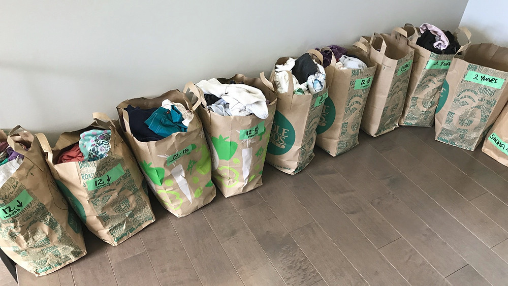 system for organizing kids hand me downs and clothing donations