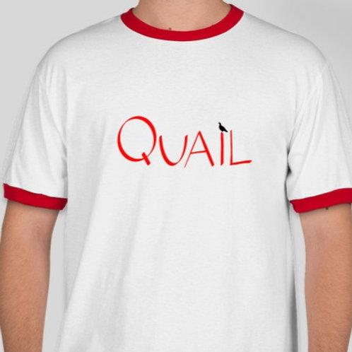 Quail Logo Ringer Tee, White