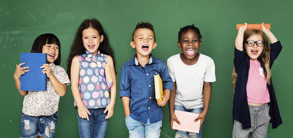 Group of school kids reading for educati