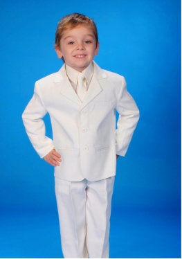 BOYS 5 PIECE WHITE SUIT