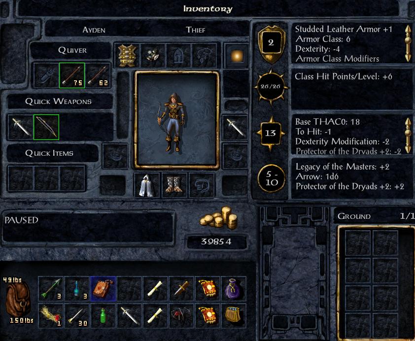 O inventário e um resumo da ficha do personagem que criei para jogar Baldur's Gate Enhanced Edition depois de tantos anos. Em AD&D quanto mais baixa a CA melhor e você pode ter até classe de armadura negativa (uma das muitas idiossincrasias da segunda edição de AD&D) e o THAC0 é a medida da sua capacidade para atingir seus inimigos