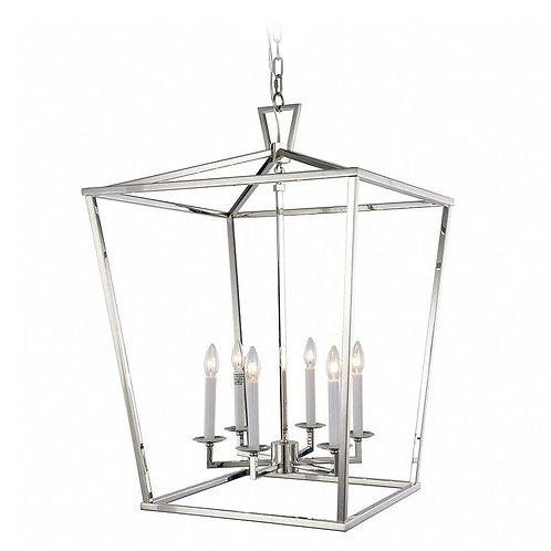 Hampton Six Bulb Silver Lantern