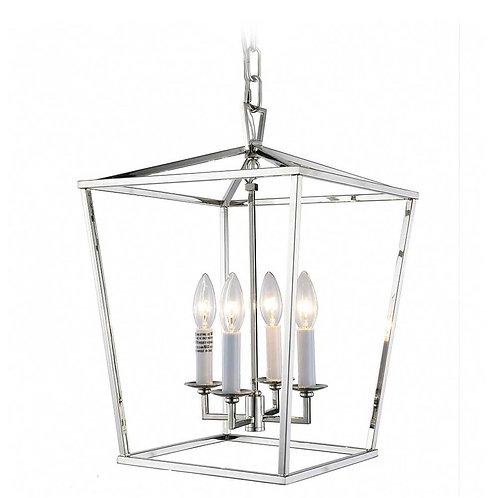Hampton Four Bulb Silver Lantern