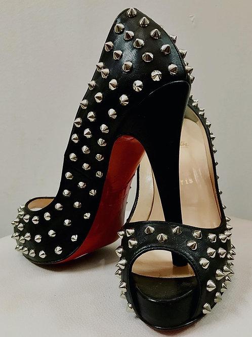 Christian LouBoutin Yolanda Spikes peep-toe pump size 37