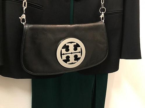 Tory Burch black leather monogram crossbody