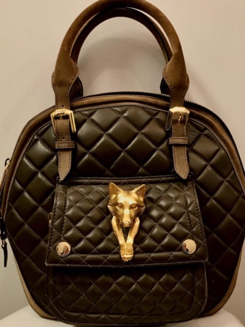 Burberry brown tote with gold fox emblem