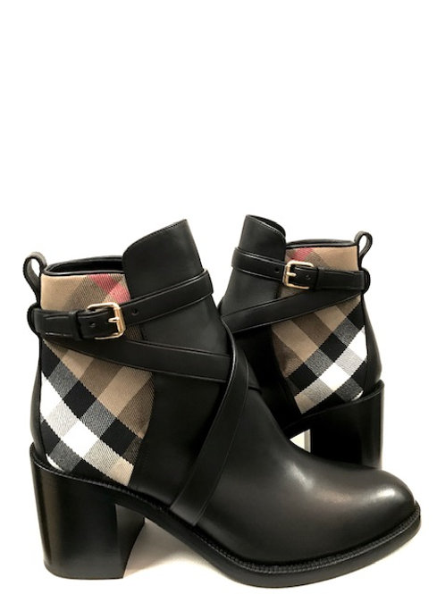 Black Burberry almond toe block heel booties size 10