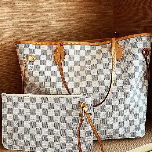 Louis Vuitton Neverfull Damier Azur purse with wallet