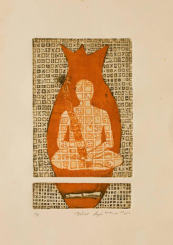 Sem Título (Figura con bastón y pez; fondo ocre y naranja)