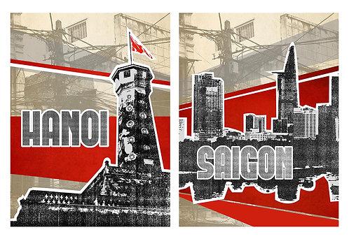 hanoi / saigon print - small