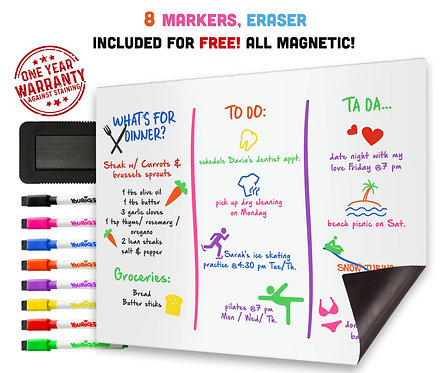 Magnetic Dry Erase Whiteboard Sheet for Fridge, 8 Magnetic Markers & An Eraser