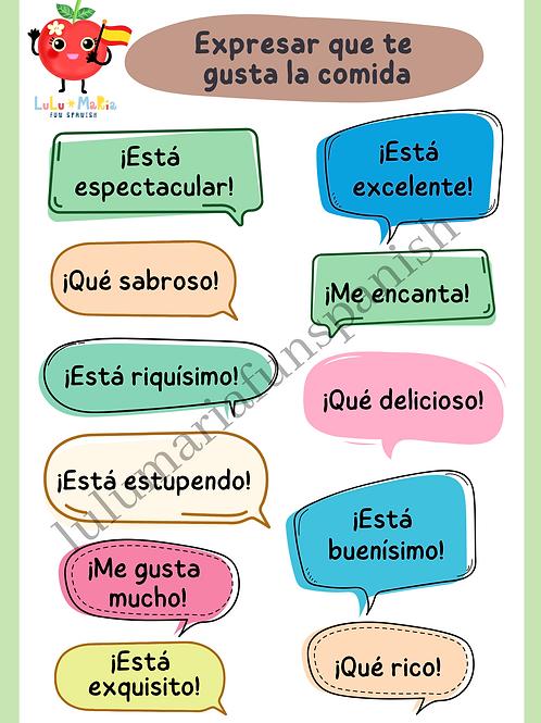 Loving your food in Spanish - Expresar que te gusta la comida - Poster
