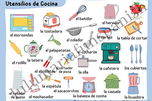 Kitchen Utensils - Utensilios de Cocina - Poster