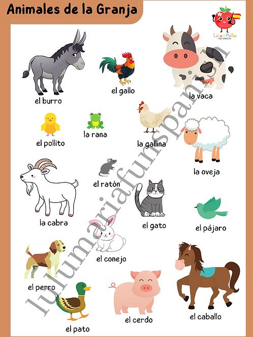 The Farm Animals - Animales de la Granja - Poster