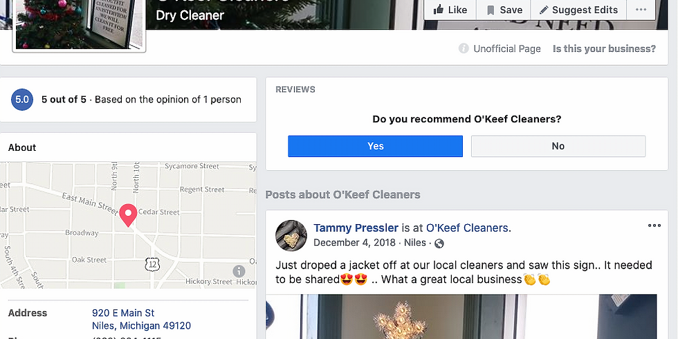 O'Keefe Cleaners is OPEN
