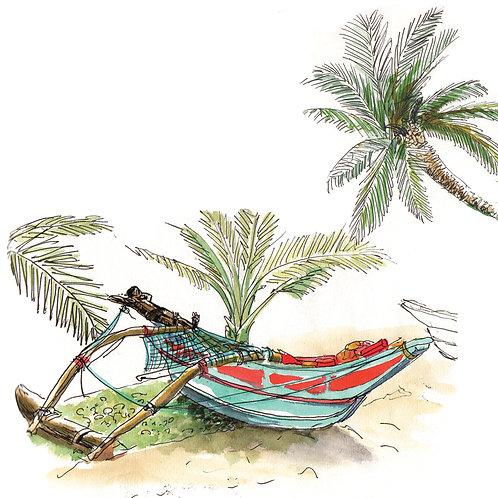 Carte postale Sri Lanka bateau