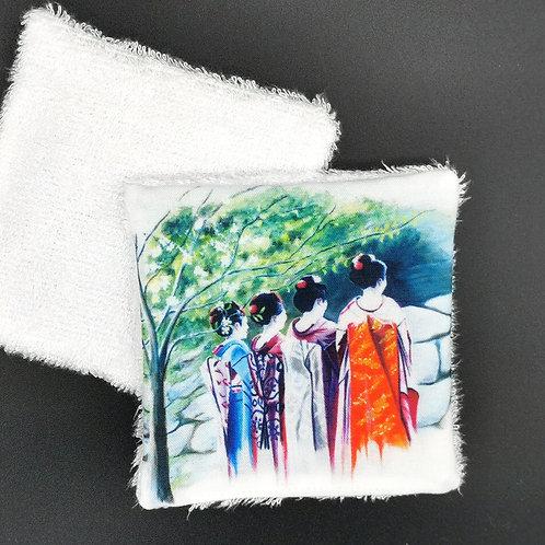 Lingette réutilisable geisha de dos