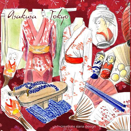Carte Asakusa objets Japon