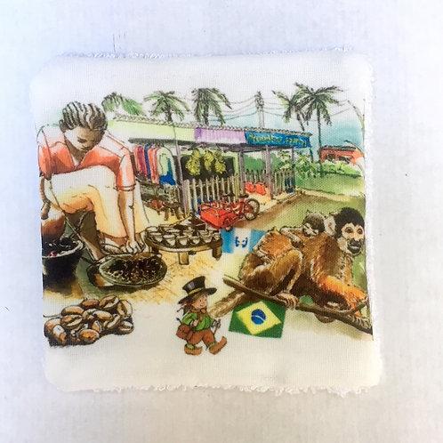 Lingettes imprimé Sri Lanka réutilisables