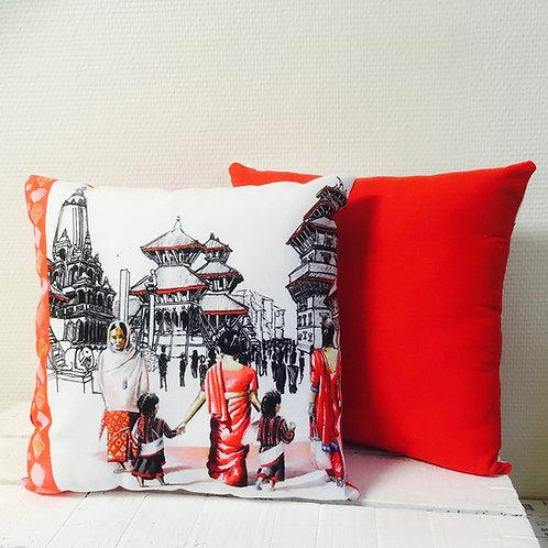 Coussin imprimé Népal dos rouge