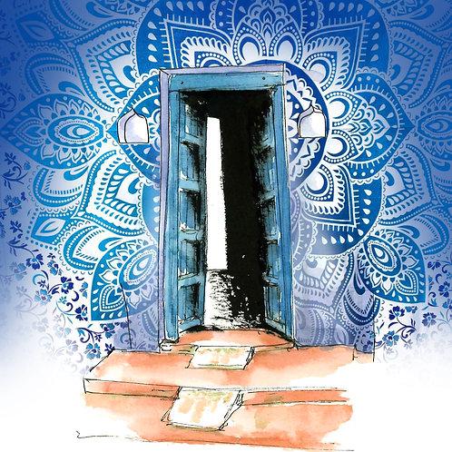 Carte postale porte indienne bleue