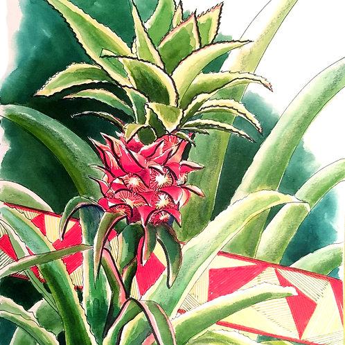 Carte postale tropicale ananas