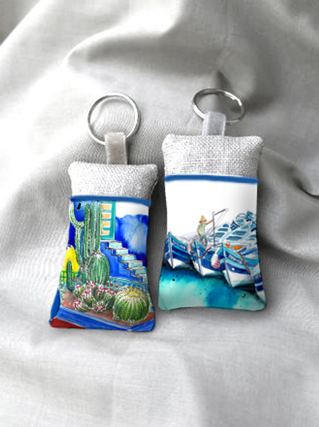 Porte clé en tissu avec poche