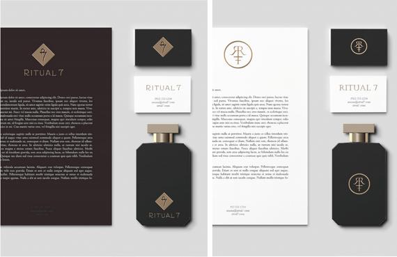 Création du logo, de la carte, fiche de présentation du parfum et flaconnerie.