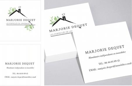 Identité visuelle de l'agence immobilière Marjorie Dequet.