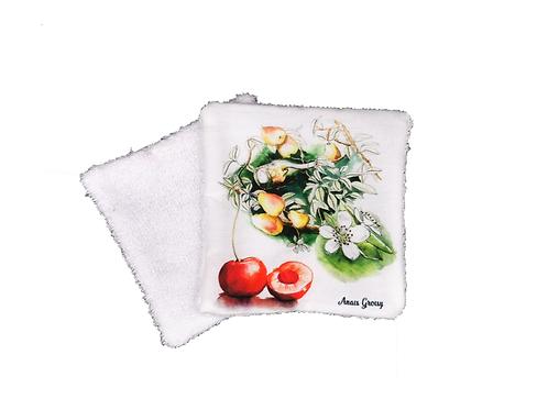 Lingette réutilisable cerises et poires
