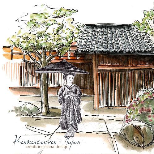 Carte Kanazawa Japon