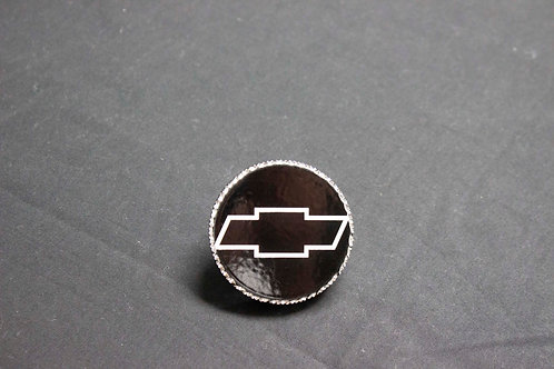 Black Powder Coated Laser Engraved Chevy Bowtie Radiator Cap w/ Hand Engraved Di