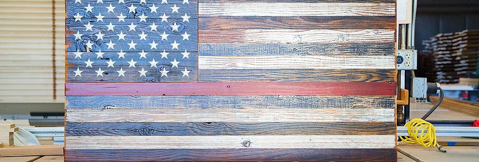 First Responder Reclaimed American Wood Flag