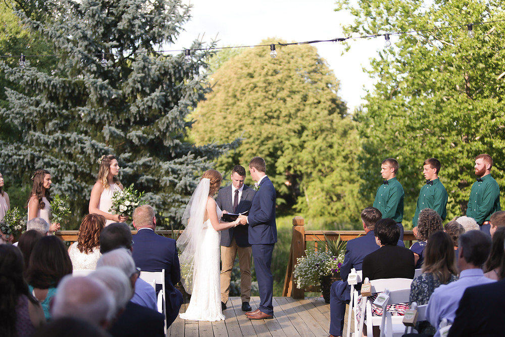 Evergreen backdrop for a simple, elegant ceremony