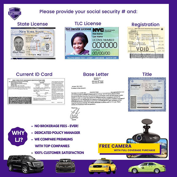 LJ Insurance Agency TLC Documents needed