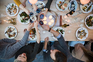 Dinner Party, Friends cheering, Dinner plates and wine glasses