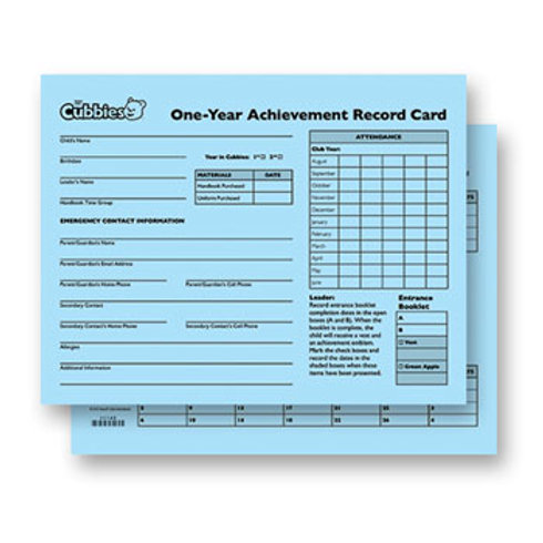 Cubbies One-Year Achievement Record Card